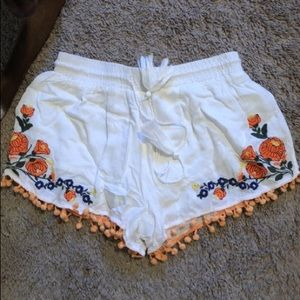 Pants - White Floral/Pom Shorts
